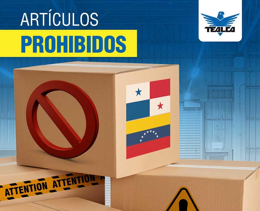 articulos prohibidos envios panama venezuela